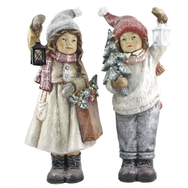 "Set of 2 ""Winter's Night"" Standing Tushkas Holding Lanterns & Christmas Tree"