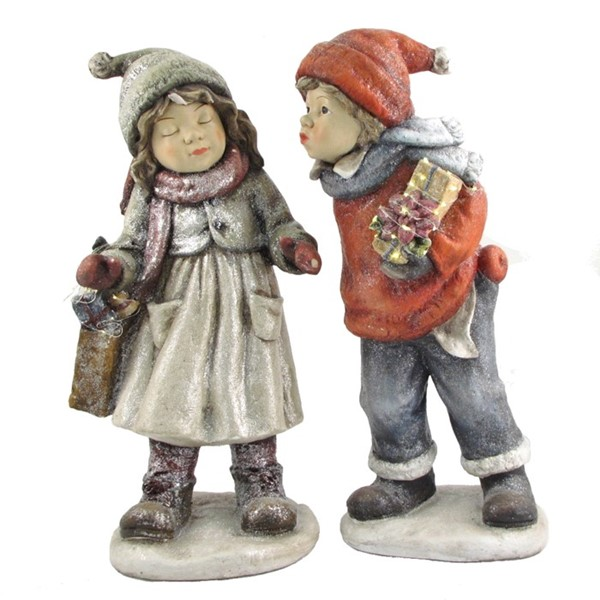 "Set of 2 ""First Kiss"" Standing Christmas Tushkas with Gifts"