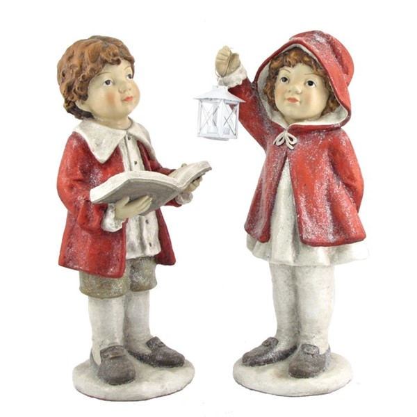 "Set of 2 ""Nighttime Reading"" Christmas Tushkas in Red Cloaks with Book & Lantern"