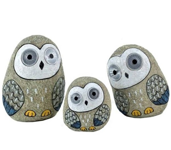 Set of 3 Solar Owls with Light Up Eyes in Grey
