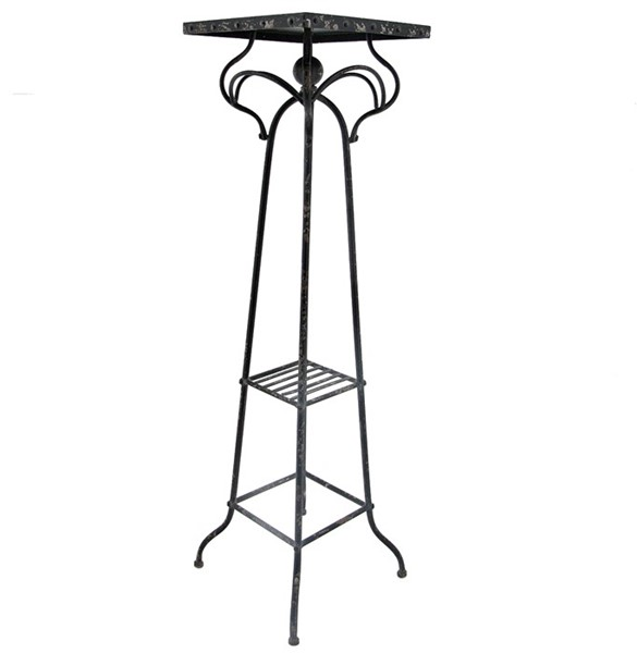 "Square Top Tall Plant Stand ""Paris 1968"" in Antique Black"