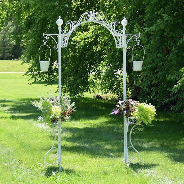 Garden Archway with 2 Hanging Buckets in Antique White