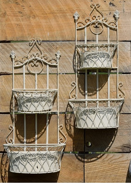 Set of 2 Iron Hanging Dual Wall Plant Baskets in Antique White