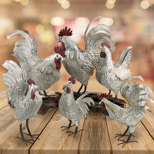 Set of 6 Assorted Style Galvanized Roosters
