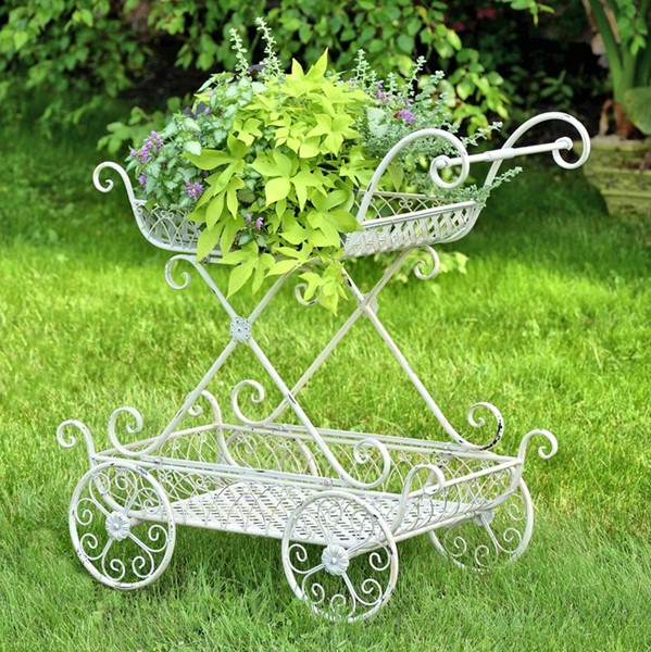 Two Tier Flower Push Cart with Moving Wheels in an Antique White Finish