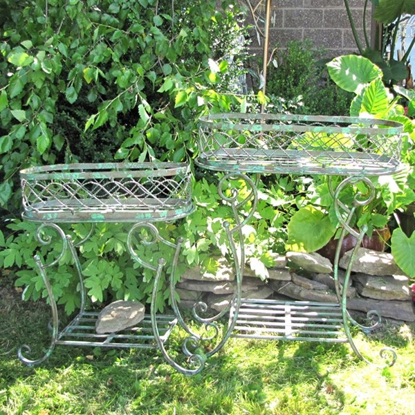 Set of 2 Oval Basket Plant Stands with Lower Shelf in Verdi Green