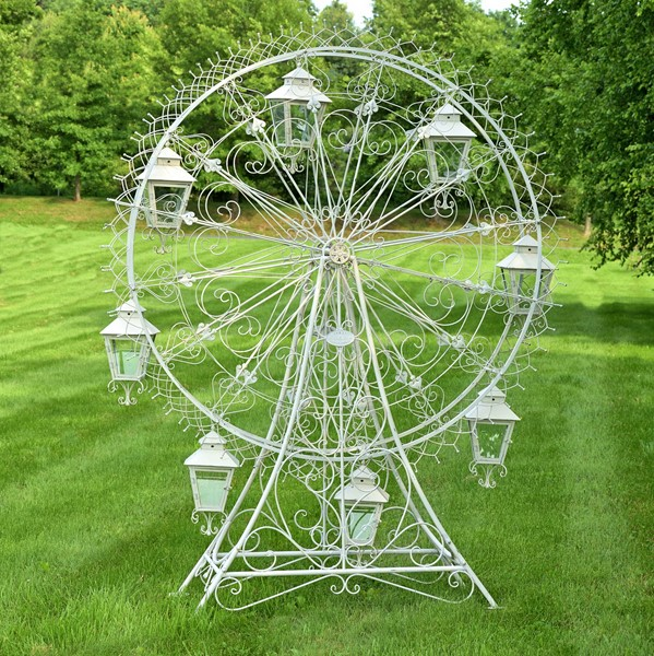 "Large Iron Ferris Wheel ""Atlantic"" with 8 Hanging Lanterns in White"