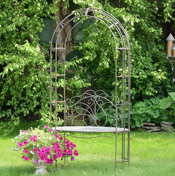 Garden Iron Arbor Archway with Bench in Bronze