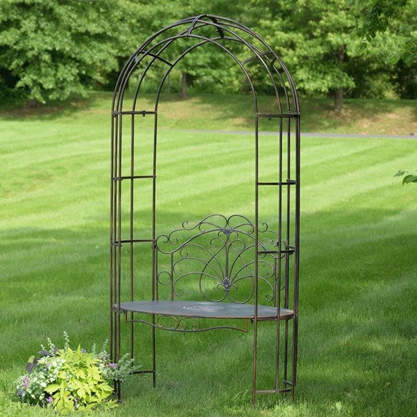 Garden Iron Arbor Archway with Bench in Grey
