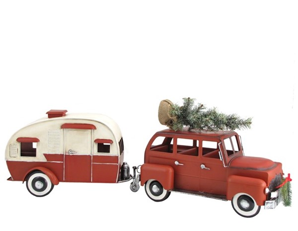Red Car with Christmas Tree and Trailer Camper