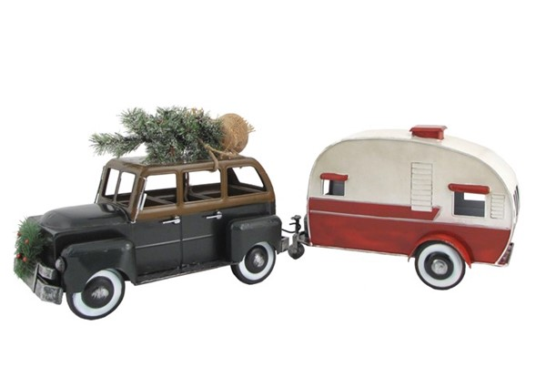 Green Car with Christmas Tree and Trailer Camper