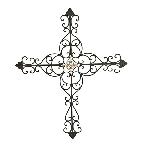 Hanging Iron Cross with Center Tile Accent