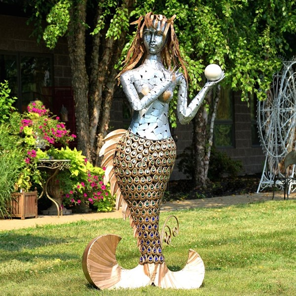 Large Standing Iron Mermaid with Colorful Acrylic Decoration