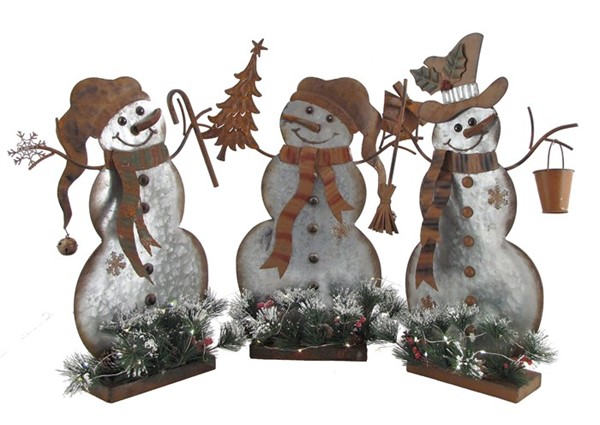 Set of 3 Small Flat Galvanized Snowmen