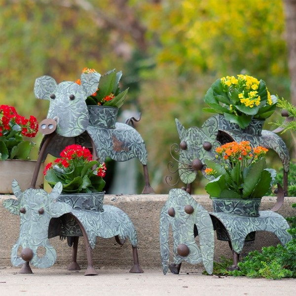 Set of 4 Galvanized Animal Planters