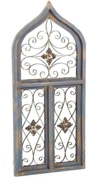 Antique Style Wooden Wall Window Decor