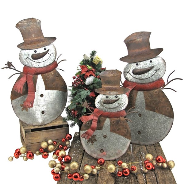 Set of 3 Flat Galvanized Christmas Snowmen with Top Hats