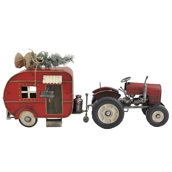 Set of 2 Red Tractor and Camper with Christmas Tree