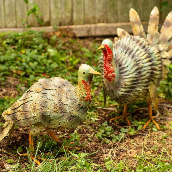 Set of 2 Painted Iron Wild Turkeys