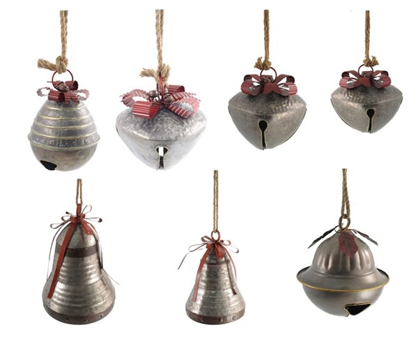 Set of 7 Large Galvanized Jingle Bells with Ribbon and Rope