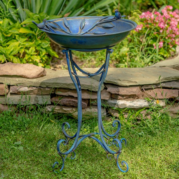 """Two Birds"" Iron Birdbath with Frosted Blue Finish"