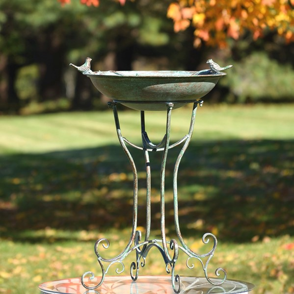"""Two Birds"" Iron Birdbath with Verdi Green Finish"