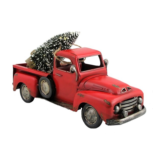 Red Iron Pickup Truck with Christmas Tree