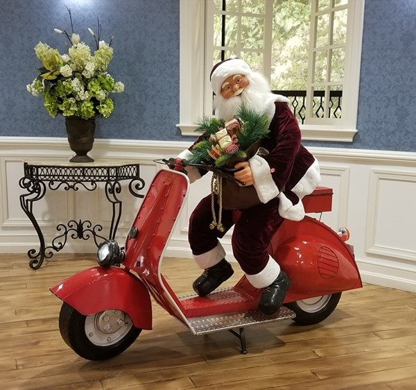 Christmas Moped with Santa Claus Decor