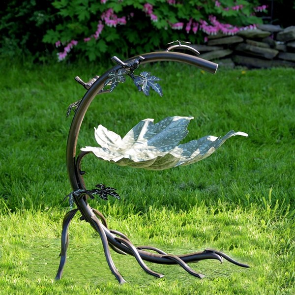 Galvanized Maple Leaf Birdbath with Birds