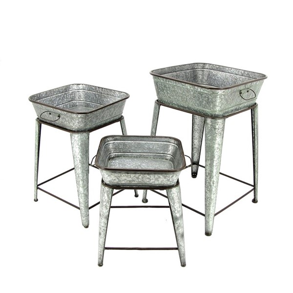 Set of 3 Square Galvanized Raised Plant Stands