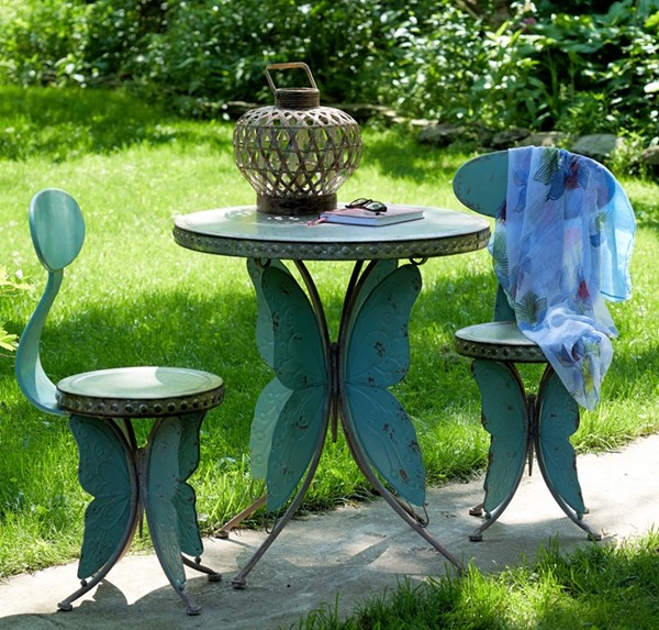 Old Style Galvanized Butterfly Bistro Set