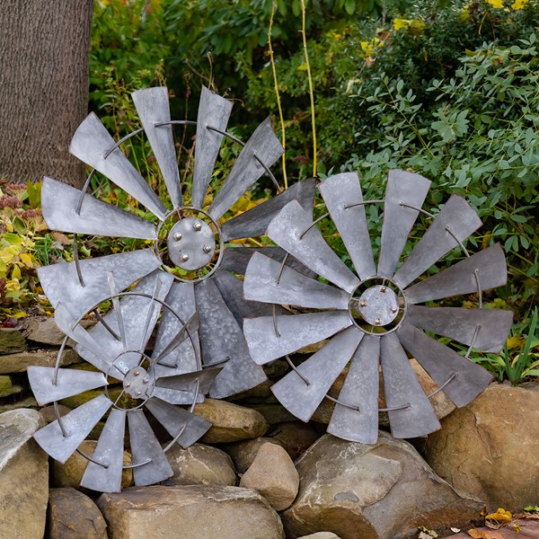 Set of 3 Galvanized Windmill Wall Décor