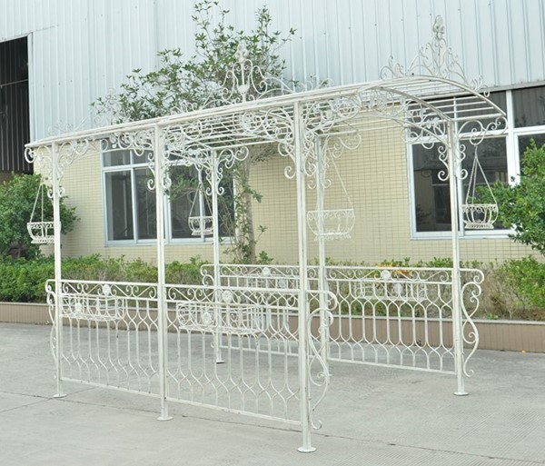 """Georgia 2019"" Long Gazebo with Planters in Antique White"