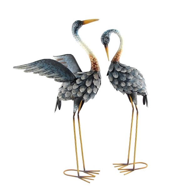 "30"" Tall Set of 2 Painted Blue Cranes"
