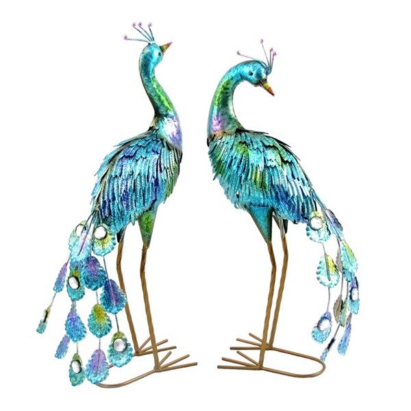 "22"" Tall Set of 2 Painted Peacocks"