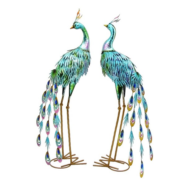 "34"" Tall Set of 2 Metallic Painted Peacocks"