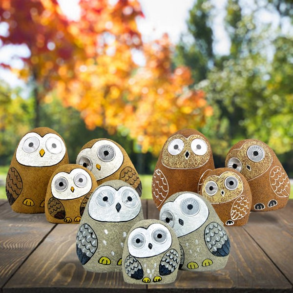 "Set of 3 Solar ""Rock"" Owls with Light Up Eyes in 3 Assorted Colors"