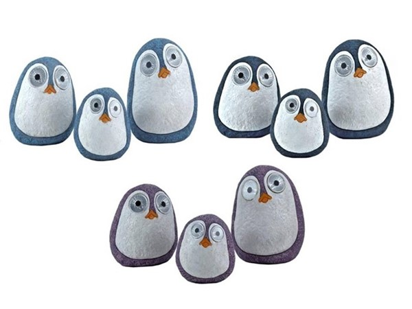 "Set of 3 Solar ""Rock"" Penguins with Light Up Eyes in 3 Assorted Colors"