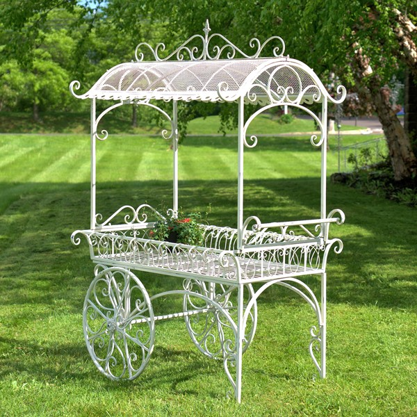 Large Iron Flower Cart with Roof