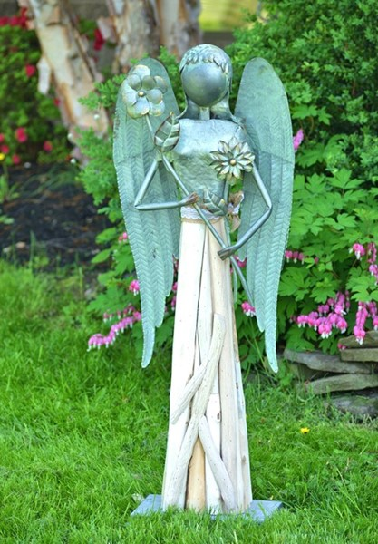 "40"" Tall Galvanized Steel and Wood Angel Garden Statue"