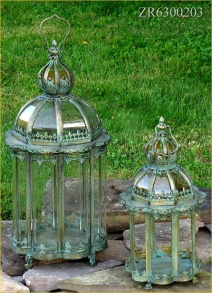 "Set of 2 Iron Garden Lanterns ""Paris 1968"" in Frosted SIlver"