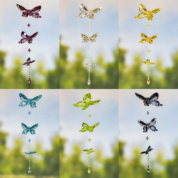 Three Piece Acrylic Butterfly Chain Ornaments in 6 Assorted Colors