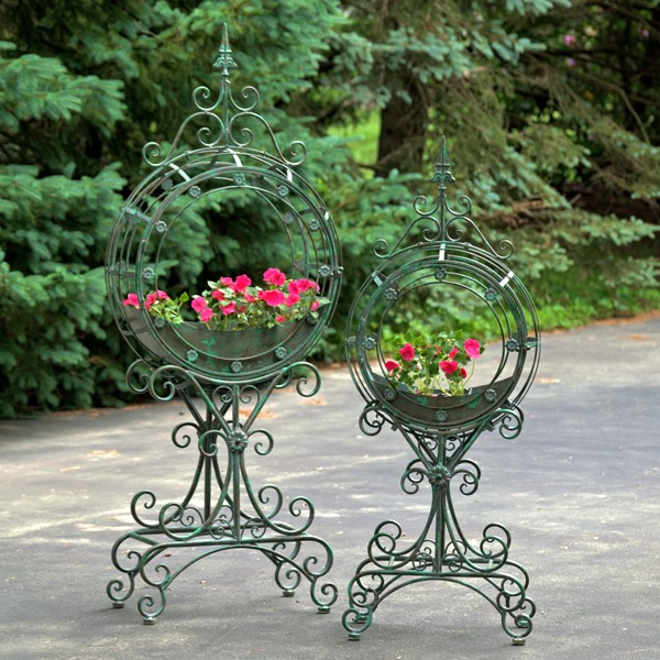 "Set of 2 Tall ""Tamar"" Iron Planters"