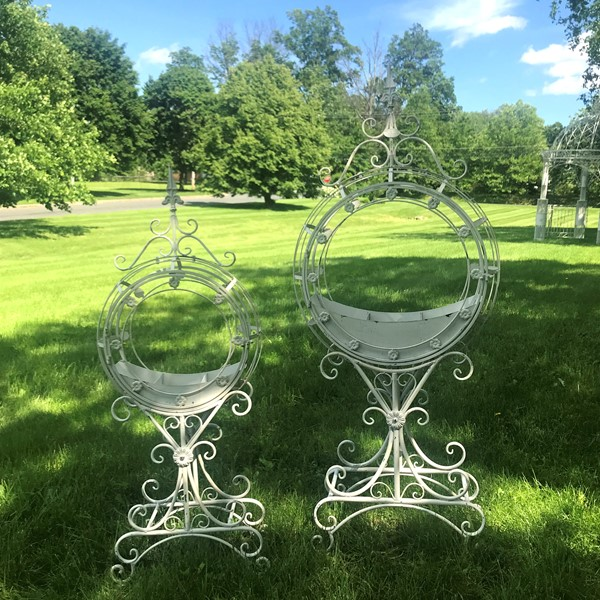 "Set of 2 Tall ""Tamar"" Iron Planters in Antique White"