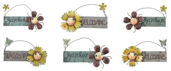 Set of 6 Assorted Small Hanging Signs with Flowers