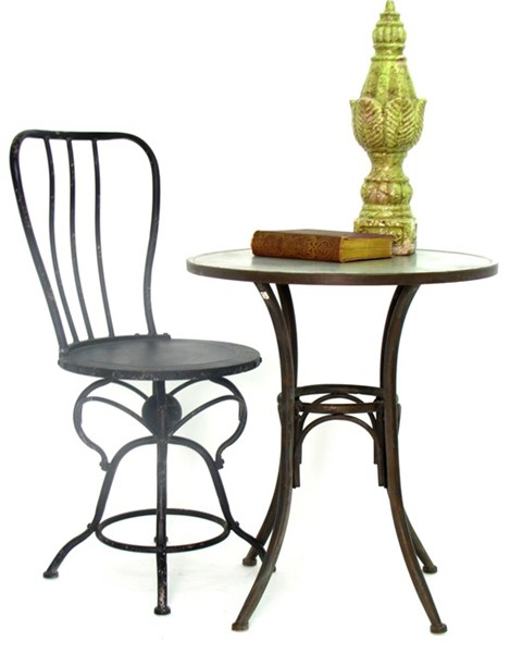 Industrial Style Metal Bistro Set with Round Table and Two Chairs