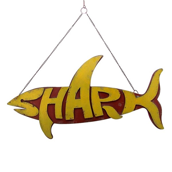 Hanging Metal Shark Sign in 3 Assorted Colors