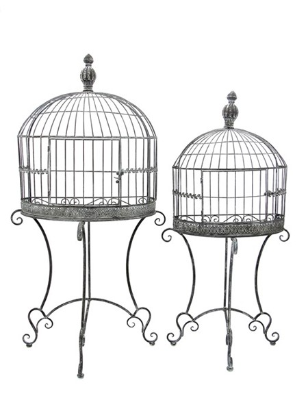 Set of 2 Wall Half Cage Plant Stands in Antique Grey