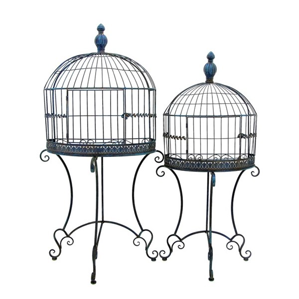 Set of 2 Wall Half Cage Plant Stands in Antique Blue