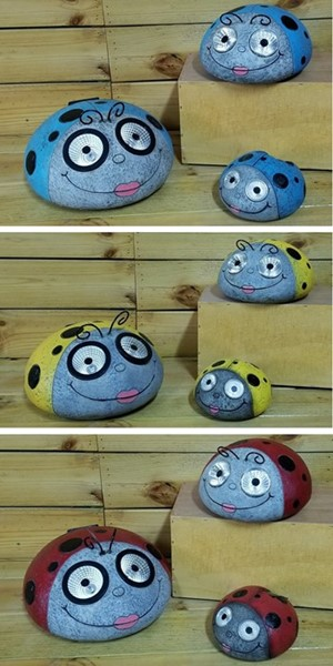 Set of 3 Painted Ladybugs with Solar Eyes in 3 Assorted Colors